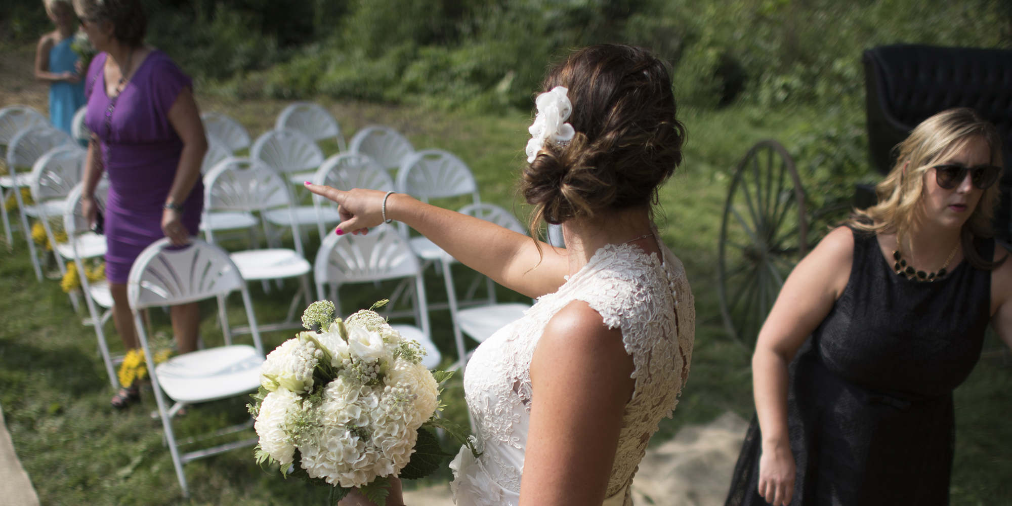 Bride pointing
