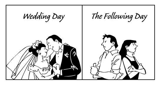 Wedding before and after
